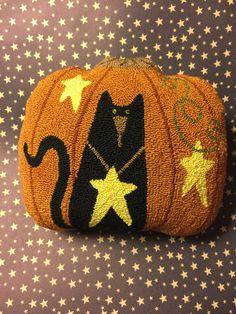 Needle Punch PATTERN Primitive Black Cat Pumpkin And Stars
