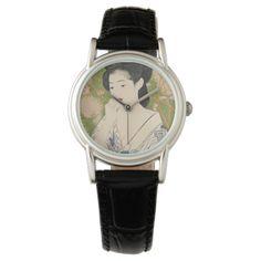 Women's Japanese Geisha Kimono Woodcut Watch. #cutewatch #giftfsofgirls #womenswatch #japan