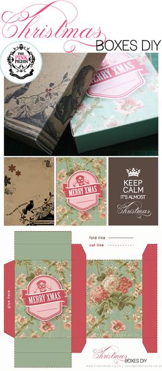 Christmas Boxes - 3 Styles - Free PDF   http://www.theprettyblog.com/2011/12/christmas-boxes-free-printables/