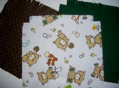 Baby Flannel rag quilt kit teddybear teddy by ConniesQuiltFabrics