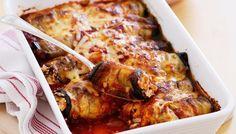 Ρολά μελιτζάνας γεμιστά με ανθότυρο στο φούρνο