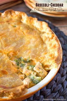 Broccoli Cheddar Chicken Pot Pie Trade chicken for frozen tofu, add in diced carrots (and potatoes). Make real pie crust.