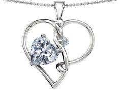 Star K Large 10mm Heart Shape Genuine White Topaz Knotted Heart Pendant Necklace