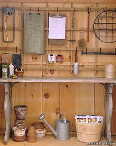 "See the ""Trellis Organizer"" in our Garage and Shed Organizing Ideas gallery. Like vines, gardening tools can get all tangled up, so organize them on a trellis. How to Make the Trellis Organizer"