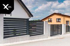 Horizontal aluminum fence in dark grey with automated sliding gate // Poziome ogrodzenie aluminiowe w kolorze grafitowym z nowoczesną bramą przesuwną Modern Fence, Full Moon, Garage Doors, Outdoor Decor, Home Decor, Harvest Moon, Decoration Home, Room Decor, Interior Design
