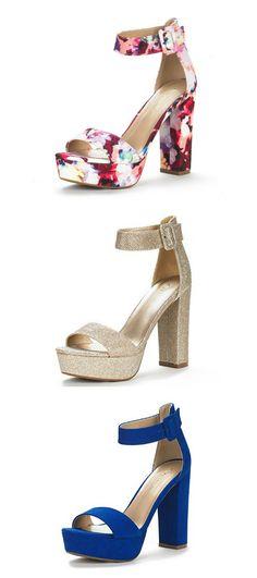 76ab56ec3bc305 DREAM PAIRS HI-LO Women s Evening Dress High Chunky Platform Heel Open Toe  Ankle Strap Stiletto Wedding Pumps Sandals