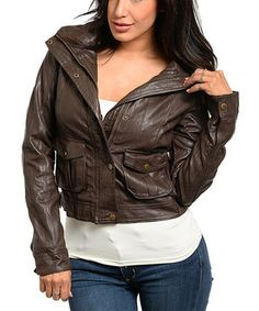 This Brown Crop Down Faux Leather Jacket by The Wholesale Fashion Square is perfect! #zulilyfinds