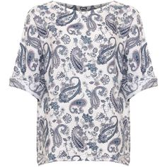 Rachel Paisley Print Linen Oversized 3/4 Sleeve Top ($27) ❤ liked on Polyvore featuring plus size women's fashion, plus size clothing, plus size tops, white, three quarter sleeve tops, white short sleeve top, paisley print top, white linen top and oversized tops