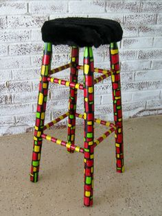 Funky Furry Barstool by MissEllenJoy on Etsy,