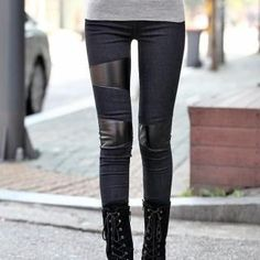 Get cheap jeggings, sew on faux-leather patches, save 70 bucks. Cute Leggings, Best Leggings, Leggings Are Not Pants, Leather Panel Leggings, Leather Jeans, Nyc Girl, Cool Outfits, Fashion Outfits, T Shirt And Jeans