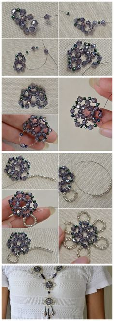 #Beebeecraft #Unique Design on How to Make a Big #Purple #Beaded Flower Pendent #Necklace