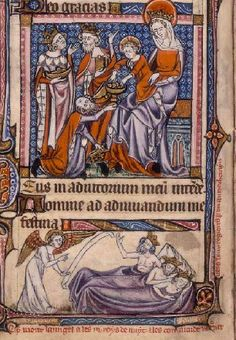 A detail from the fourteenth-century Taymouth Hours depicting the Three Kings (identified by their symbolic crowns) worshipping the infant Christ (above) and having a dream (below); (Yates Thompson 13 ff.94v). (British Library)