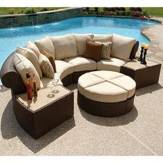 Isola Wicker Outdoor Patio Sectional Furniture Set - 7 pc.