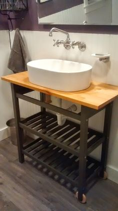 Once Upon an Acre: Ikea kitchen cart hack. Turning a boring kitchen cart into a fabulous bathroom vanity.