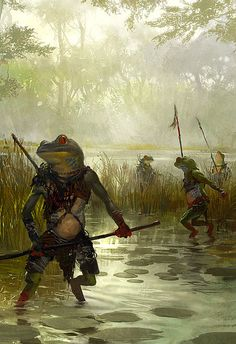 Bullywug Hunting Party. Froggies don't bother anyone when they're out on the hunt. It's their prey, giant insects, that cause the real problems.