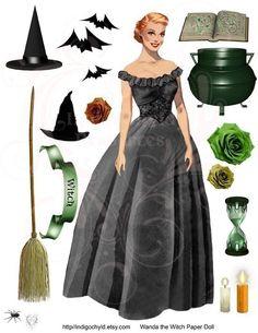 Wanda the Witch Digital Collage Sheet JPG by indigochyld on Etsy, $3.75