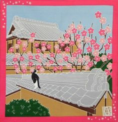 Japanese 12 Seasons in Kyoto Tama The Cat Furoshiki Scarf 'Ume' Plum Blossoms - February
