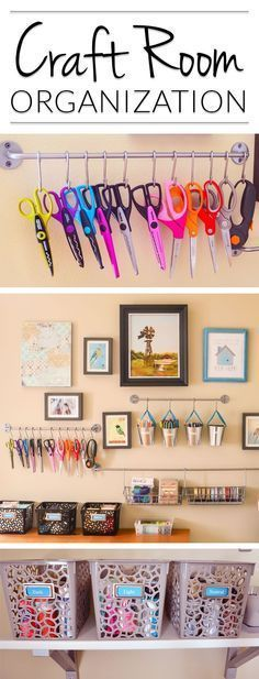 Oh! Craft Room Organizing & Storage ideas that would actually work in the corner of our guest room. LOVE that I could see what I have without packing everything away. My craft stuff would actually look good organized on the wall! Craft Room Storage, Craft Organization, Storage Ideas, Organizing Ideas, Craft Rooms, Wall Storage, Office Storage, Organizing Labels, Scrapbook Organization