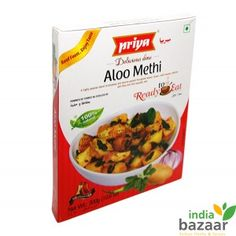 Priya Aloo Methi 300g Ready to eat food just microwave on high for 1 to 2 minutes and serve Serving per package:3  A perfect accompaniment for Rice, Roti or Puri with rice taste-flavour sensation all its own Ingredients: Potato, Tomato, Onion, Refined rice bran oil, Cashew nut, Salt, Green chilli, Ginger, Coriander, Garlic, Dry fenugreek leaves, Red chilli, Cumin. Turmeric, Cardamom, Clove and Cinnamon. Product of India