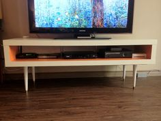 ikea hack mid century | then attached the Lack TV stand to the plywood bench with three ...