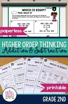 Are your students ready to be challenged with higher order thinking addition and subtraction problems? There are 13 problems provided to engage students in meaningful dialogue about what they are learning. The problems follow the same format.  1. Think About It 2. Talk About It 3. Write About It. Includes Word problems, place value, and basic operations. #AGraceFilledClassroom #Addition #Subtraction #PlaceValue #WordProblems #TpT #Printable