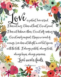 Love Is Patient Love Is Kind Print / Love Never Fails Sign / 1 Corinthians 13 / Wedding Gift Print / Gift for Newlyweds / Bible Verse Print This