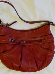 3ed7f481e5 Handbag Medium Size Tignanello Brick Red Pebbled Leather Pockets Silver GUC   Tignanello  Hobo