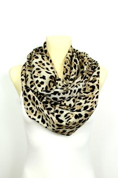 Brown Leopard Infinity Scarf - Leopard Print Scarf - Leopard Loop Scarf - Women Fashion Accessories - Leopard Fabric Scarf - Gift Idea