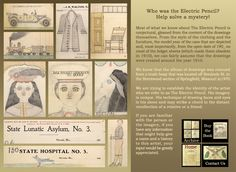 """The Electric Pencil"" -- a collection of drawings, done on ledger pages, and hand-sewn into a book. Thought to be the work of Edward Deeds, born in 1908 and who was committed to State Hospital Number 3 at the age of 17 (about 1925), after threatening his brother with a hatchet. He spent 50 years there. He was released from the hospital to a nursing home in the mid-1970s and died on January 9, 1987."