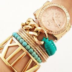 Arm Candy ---- Tiffany & Co, Atlas Bangle. Helloberry Bracelet. Michael Kors, Women's Chronograph Dylan Rose Gold Watch. Project: #2 (from left), string of turquoise beads. #4, gold chain and turquoise plastic lacing. ---- #jewelry