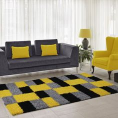 Squared Box Shaggy Yellow Rug Longweave Rug Size: Rectangle 60 x Sofa Design, Interior Design, Home Room Design, Living Room Designs, Grey And Yellow Living Room, Mustard Living Rooms, Living Room Decor Colors, Yellow Rug, Yellow Theme