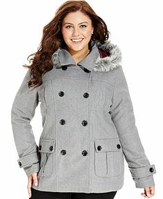 Dollhouse Plus Size Coat, Hooded Faux-Fur-Trim Pea Coat//Macy's Winter Coats Women, Coats For Women, Winter Jackets, Plus Size Winter, Stylish Coat, Plus Size Coats, Oversized Coat, Curvy Outfits, Winter Looks