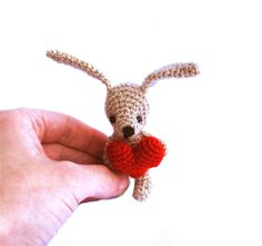 bunny Easter bunny with red heart by tinyworldbycrochAndi on Etsy, $19.48