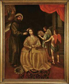 São Francisco de Assis cortando as tranças a Santa Clara antes de professar, escola portuguesa séc. XVII. Cabral Moncada Leilões