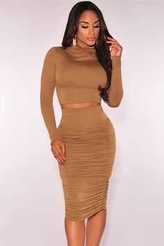 Mock Neck Ruched Skirt Two Piece Set
