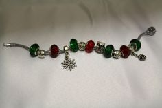 #bracelet #bigholebeads #green #red #silver #christmas Silver Christmas, Pandora Charms, Charmed, Beads, Bracelets, Green, Handmade, Crafts, Jewelry