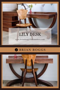 Our cantilevered Lily desk accents any foyer, bedroom, or small office. A writing desk with a minimalist footprint, customize this piece to your desired height and tabletop dimensions. Beautiful paired with a custom height Lily chair. #table #home #lilytable #BrianBoggs #woodchair #furniture #woodwork #diningtable
