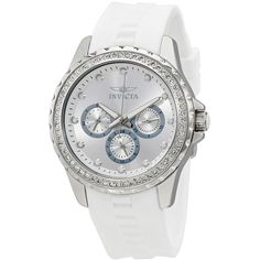 Invicta Angel Multi-Function Silver Dial White Polyurethane Ladies... ($70) ❤ liked on Polyvore featuring jewelry, watches, invicta jewelry, invicta, dial watches, white watches and analog wrist watch