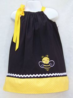 Bee Pillowcase Dress / Black / Yellow / Girly / Birthday / Newborn / Baby / Girl / Infant / Toddler / Handmade / Custom Boutique Clothing
