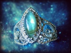 NATURAL 3.10 ct. LABRADORITE on Hand-Twisted Silver Lace Tiara Cocktail Ring, size 7.75