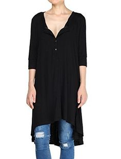 Mordenmiss Womens New Half Sleeve High Low Loose Tunic Tops BlackXXXL -- Check this awesome product by going to the link at the image.Note:It is affiliate link to Amazon.