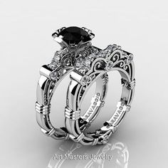 Art Masters Gothic Wedding Ring Set. Check out more awesome Gothic designs www.uniqueintuitions.com #gothic #uniqueintuitions #weddingring #ring