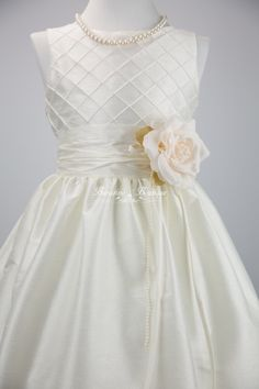 comes in pink, ivory - would have to ask about dusty pink  only $47!  Flower Girl Dress. Ivory White Pink Special by BURATINOBOUTIQUE
