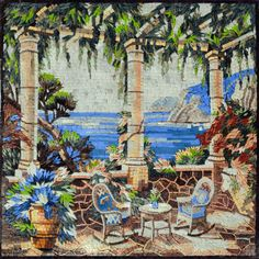 Two chairs and a table on a balcony in Marble Mosaic Mural Mosaic Artwork, Mosaic Wall Art, Marble Mosaic, Tile Art, Mosaic Glass, Glass Art, Mosaic Designs, Mosaic Patterns, Mosaic Ideas