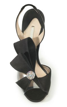 #Nicholas Kirkwood 2013 Black Satin Jewelled Evening Shoe