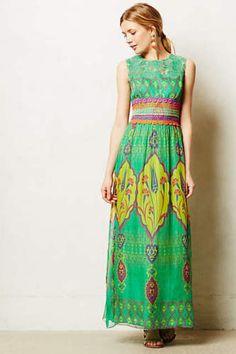 ANTHROPOLOGIE-NWT-Mintzita-Maxi-Dress-by-Hemant-Nandita-Green-Silk-Sz-4-278