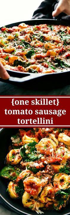 A super easy, 15-minute prep, ONE SKILLET tomato tortellini withsausage. This is an easy family-friendly meal!