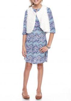 Red Camel  Vest and Print Dress 2-Piece Set Girls 7-16