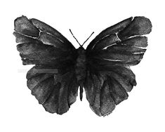 black butterfly watercolor tattoo