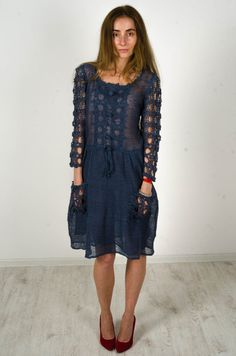 Crochet linen dress Knitted blue dress lace от CrochetDressTalita